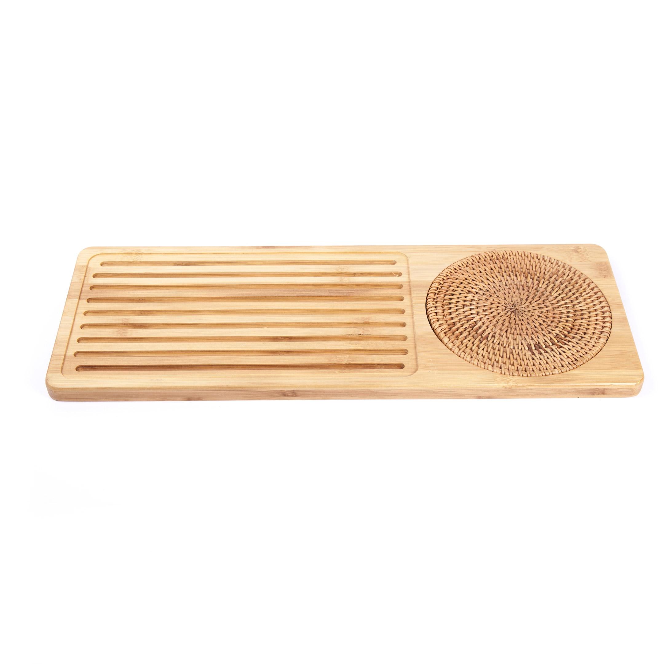 Podnos bambus s guľatou podložkou