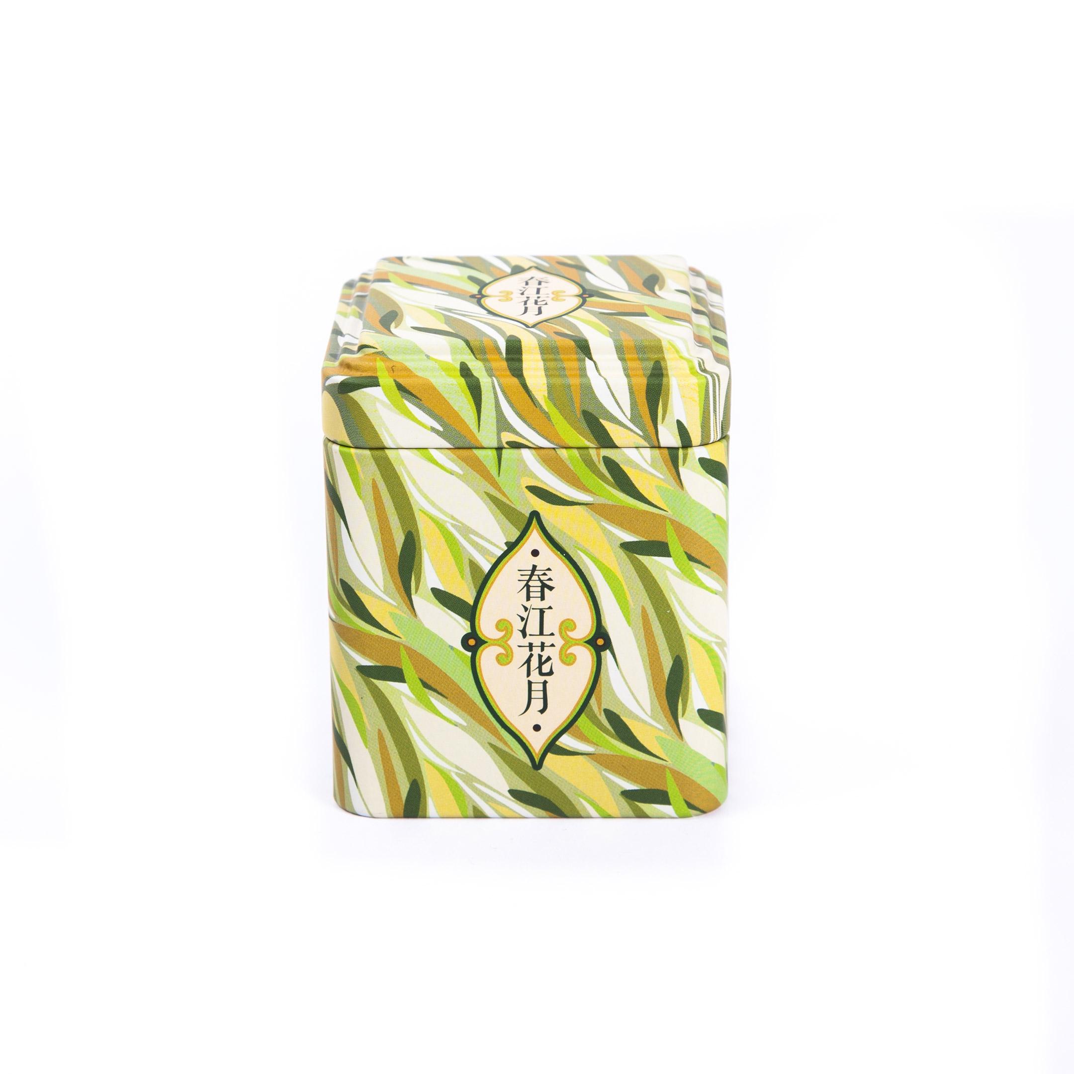 Dóza na čaj hranatá ozdobná - Zelená