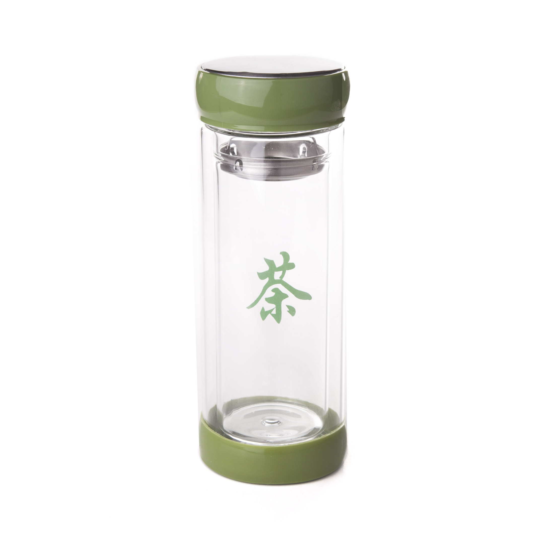 Zavarovačka na čaj sklenená - znak Cha - zelená