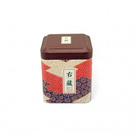 Dóza na čaj hranatá ozdobná - Hnedá abstraktná