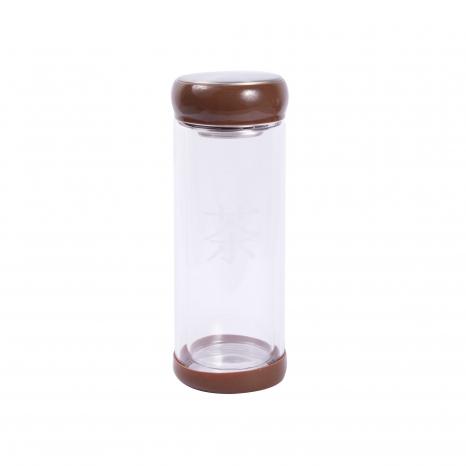 Zavarovačka na čaj sklenená - znak Cha - hnedá