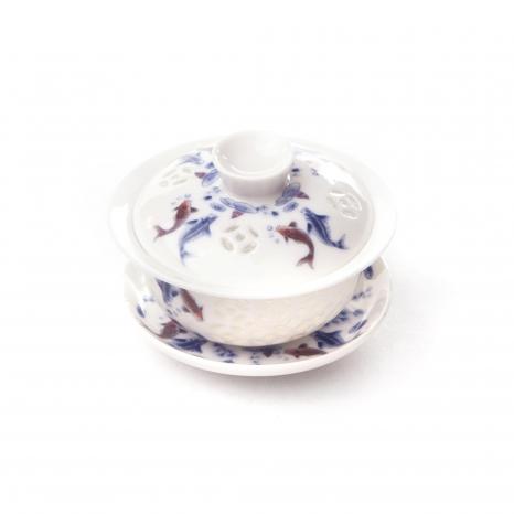 Zhong porcelánový biely - tenký modrá malba